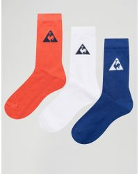Le Coq Sportif - 3 Pack Tricolore Crew Socks - Lyst