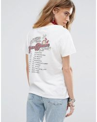 MINKPINK Beauty And The Beast Tour T-shirt With Be Our Guest Print - White