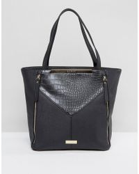 Lipsy - Black Zip Front Panelled Shopper - Lyst