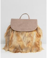 Glamorous Backpack With Faux Fur Detail - Multicolour