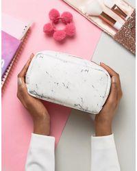 New Look Marble Print Make Up Bag - White