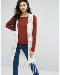First & I - Knitted Long Waistcoat - Lyst