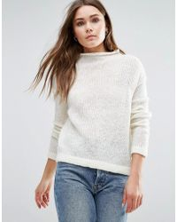 First & I - Knitted High Neck Jumper - Lyst