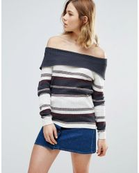 First & I - Stripe Bardot Jumper - Lyst