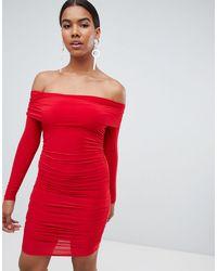 Missguided Red Bardot Slinky Mini Dress