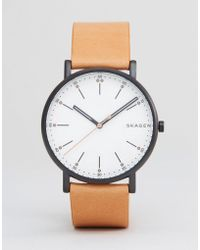 Skagen - Skw6352 Signature Leather Watch In Tan - Lyst