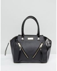 Lipsy - Black Double Zip Front Grab Bag - Lyst