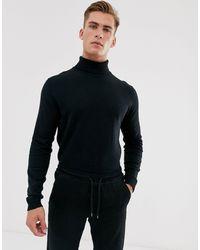 SELECTED – er Strickpullover aus Baumwolle mit Rollkragen - Schwarz