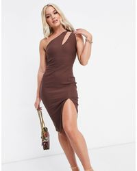 Vesper - Шоколадное Платье-футляр Миди На Одно Плечо С Вырезом -коричневый - Lyst