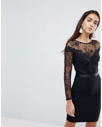 Lipsy Bodycon Dress With Lace Sleeves And Velvet Trim - Black