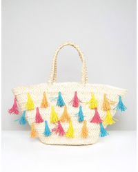 South Beach Straw Beach Bag With Colored Tassels - Multicolor