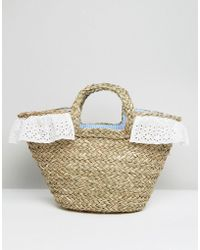 South Beach Straw Beach Bag With Gingham Lining - Multicolor