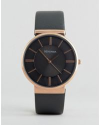 Sekonda - Grey Leather Watch With Rose Gold Dial Exclusive To Asos - Lyst