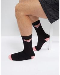 Huf X Pink Panther Socks With Classic Logo - Black