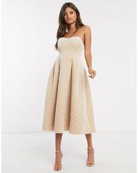 ASOS Premium Quilted Velvet Bandeau Prom Midi Dress - Natural