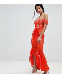 Jarlo - All Over Lace Off Shoulder Fishtail Midi Dress - Lyst