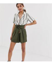 Miss Selfridge - Linen Khaki Tie Waist Short Co-ord - Lyst