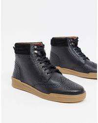 Original Penguin Lace Up Leather Ankle Boots - Black
