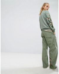 Maharishi Wide Leg Snopants With Tiger Embroidery - Green