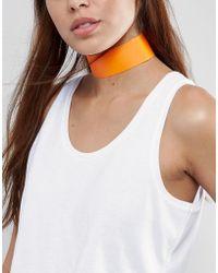 New Look Wide Plastic Choker Necklace - Orange