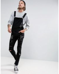 Liquor N Poker - Black Wash Doodle Ripped Overall - Lyst