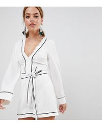 Missguided - Exclusive Petite Contrast Trim Belted Kimono Sleeve Playsuit - Lyst
