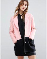 Girls On Film Colourblock Coat - Pink