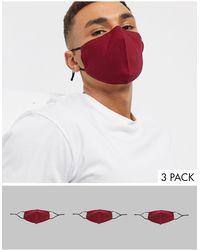 ASOS 3 Бордовые Маски Для Лица С Регулируемыми Ремешками - Красный