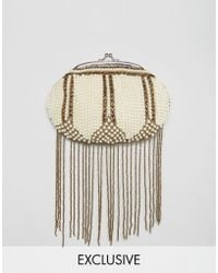Amelia Rose - Beaded Embellished Clutch Bag With Bead Tassles - Lyst