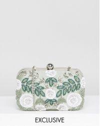 Amelia Rose - Floral Embellished Hard Box Clutch Bag - Lyst