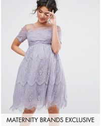 Chi Chi London - Lace Dress With Tulle Skirt - Lyst