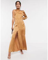 Liquorish Платье С Одним Рукавом -светло-коричневый
