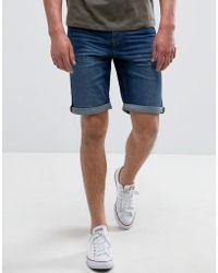 Mango - Man Denim Shorts In Mid Wash Blue - Lyst