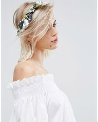 New Look - Tropical Palm Print Satin Bandana - Lyst