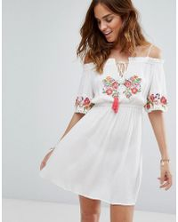 Floozie Off The Shoulder Embroidered Beach Dress - White