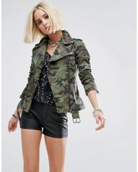 Tripp Nyc - Moto Jacket In Camo Print - Lyst