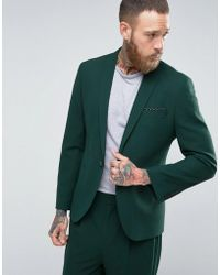 Asos Skinny Suit Jacket In Forest Green in Green for Men | Lyst