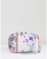 Chi Chi London - Box Clutch Bag In Satin Floral Print - Lyst