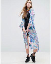 Jaded London Holographic Print Kimono - Blue
