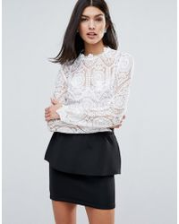 Lipsy High Neck Lace Top - White