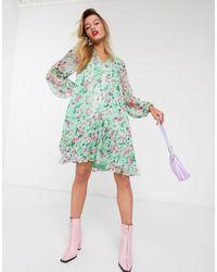 Essentiel Antwerp Vauto Floral Frill Mini Dress - Green