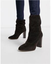 Karen Millen Sappho Suede Block Heeled Boots - Brown