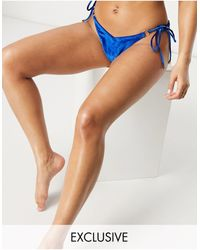 South Beach Mix And Match String With Ring Detail Bikini Bottoms - Blue