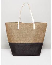 Vincent Pradier - Black And Gold Colourblock Beach Bag - Lyst
