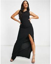 Vesper Vestido largo negro asimétrico con abertura en el muslo
