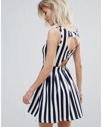 Madam Rage Madam Stripe Skater Dress With Heart Detail - Blue