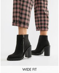 ASOS Wide Fit Brody Chunky Zip Boots - Black