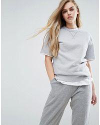 Converse - Premium Essentials Short Sleeve Sweat In Grey - Lyst