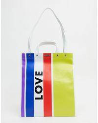 Rebecca Minkoff Leren Magazine Tote Met Love-logo Met Regenboogstrepen - Meerkleurig