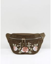New Look Festival Embroidered Bumbag - Green